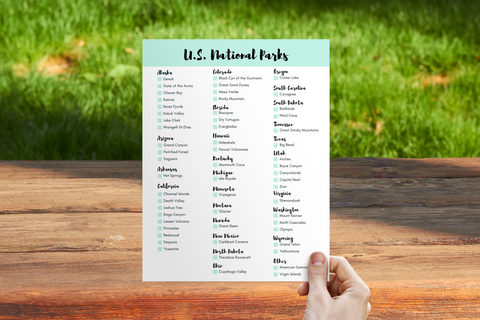 United States National Parks Checklist