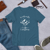 Weekends Coffee Camping with Mountains T-Shirt