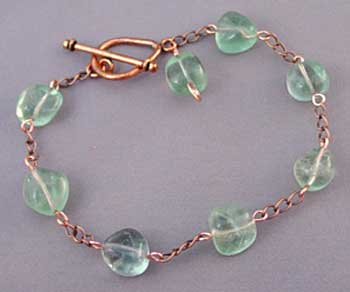 Sea Green Fluorite Copper Ankle Bracelet for Joint Pain