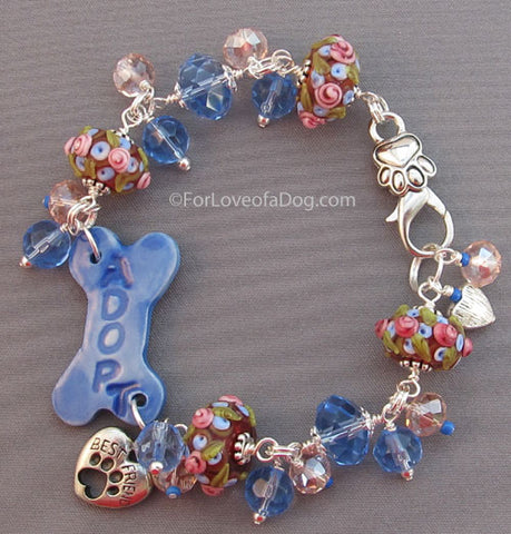 Best Friend Dog Bone Bracelet Floral Lampwork Blue Crystals