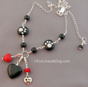 I Love My Dog Paw Print Heart Charm Necklace