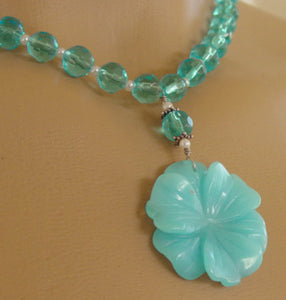 Aqua Blue Turquoise Flower Necklace Crystal Pearl Jewelry