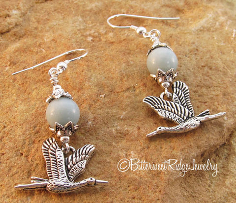 Heron Earrings Robins Egg Blue Amazonite Bird Jewelry