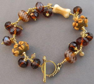 Dog Bone Bracelet Amber Crystals Lampwork Gold Jewelry