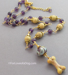 Deep Purple Amethyst Dog Bone Necklace Lampwork Gold