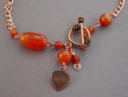 Natural Carnelian Copper Heart Ankle Bracelet