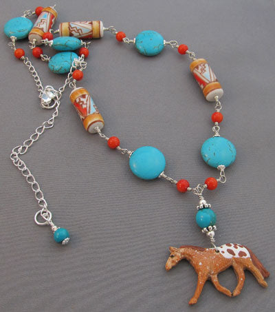 Appaloosa Horse Necklace Turquoise and Coral