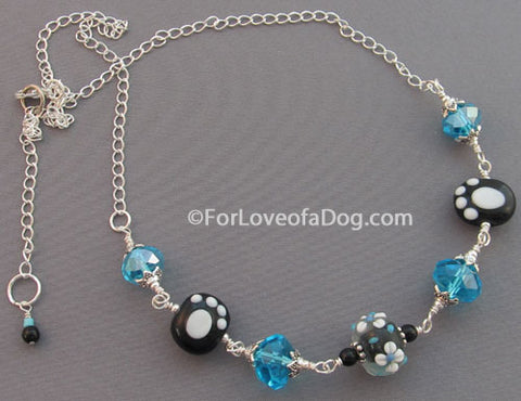 Paw Print Necklace Turquoise Crystals Lampwork Silver