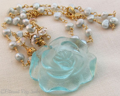 Aqua Rose Necklace Freshwater Pearls Gold Jewelry