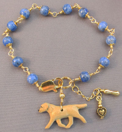 Yellow Labrador Retriever Dog Bracelet Blue Lapis Handmade