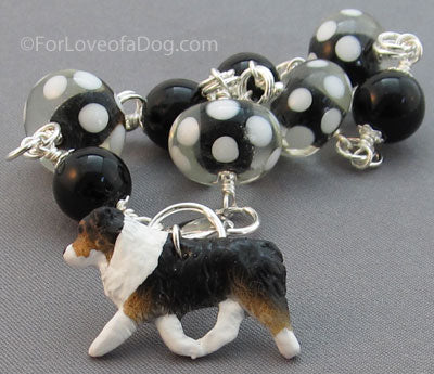 Australian Shepherd Dog Charm Bracelet Tri Color