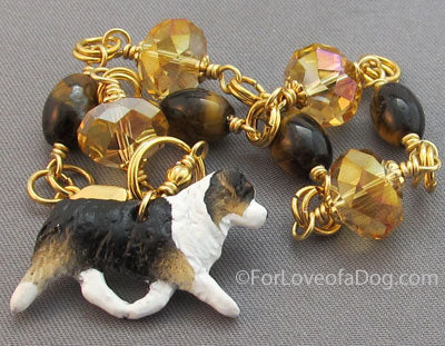 Australian Shepherd Dog Bracelet Tigerseye Crystals Gold