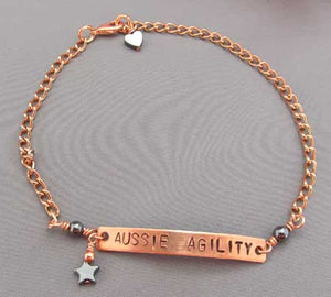 Aussie Agility Copper Ankle Bracelet Unisex Dog Jewelry