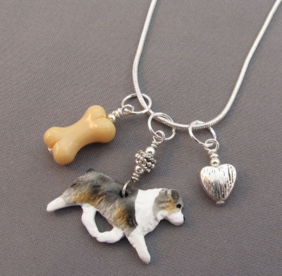 Australian Shepherd Dog Charm Necklace Bone Silver Heart