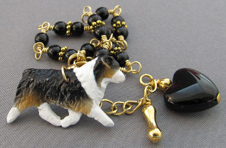 Australian Shepherd Dog Lover Bracelet Black Gold Jewelry
