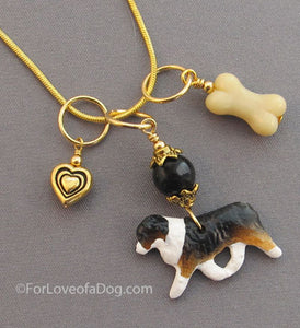 Australian Shepherd Dog Bone Charm Necklace Gold Heart Tri Color
