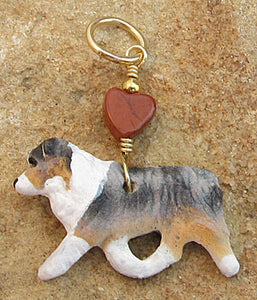 Australian Shepherd Dog Pendant Merle with Gold