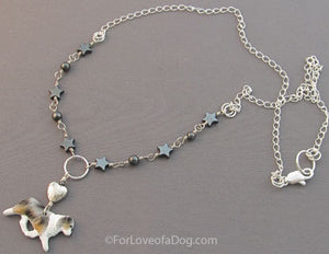 Australian Shepherd Dog Necklace Merle Stars Heart