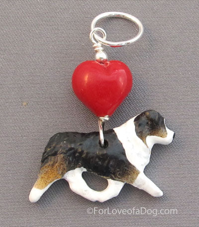 Australian Shepherd Dog Pendant Tri Color Red Heart Silver