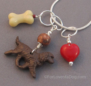 American Water Spaniel Dog Charm Necklace Bone Red Heart