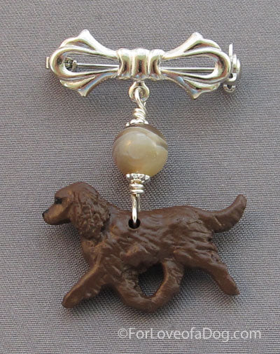 American Water Spaniel Dog Pin Chocolate Agate Silver