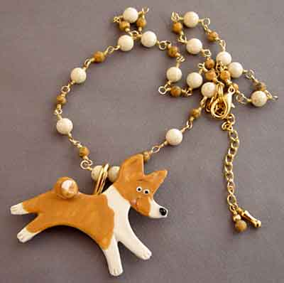 Happy Dog Pin Necklace Basenji Dog Breed Jewelry