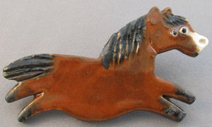 Bay Running Pony Horse Pin Equestrian Jewelry