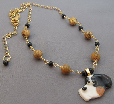Berner or Swissy Dog Necklace Gold Handmade Jewelry