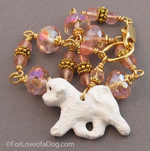 Bichon Frise Dog Bracelet Cherry Quartz Pink Crystals Gold