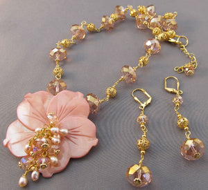 Sunrise Sunset Flower Necklace Pink Crystal Gold Jewelry
