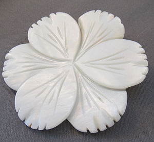 Flower Pendant or Pin Ivory Mother of Pearl