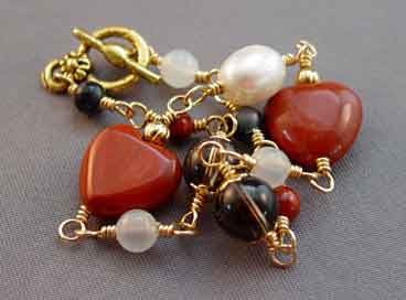 Red Hearts Bracelet Pearl Quartz Fertility Jewelry