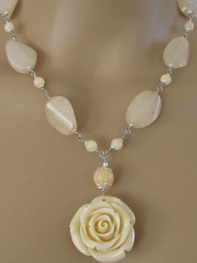 Romantic Rose Necklace Faux Bakelite Wedding Jewelry