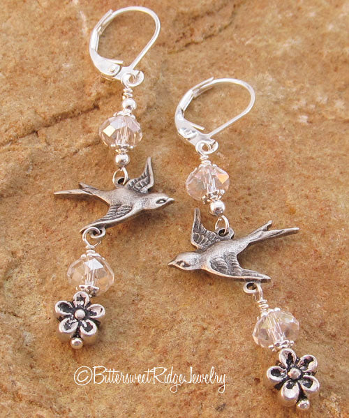 Silver Flying Bird Earrings Crystal Flowers on Silver