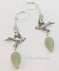 Silver Flying Bird Earrings Mellow Green Leaves