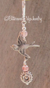 Silver Swallow Bird Earrings Roses Cherry Quartz