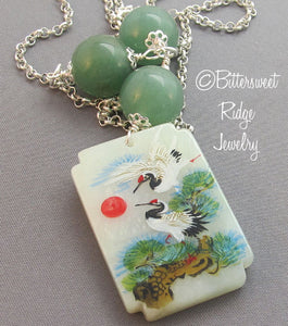 Lucky Crane Necklace Hand Painted Flowers Symbol Jewelry