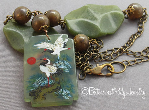 Cranes and Flowers Necklace Chunky Jade Dark Green Vintage Brass