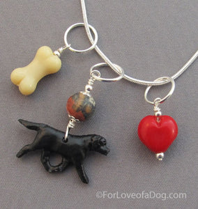 Black Labrador Retriever Dog Charm Necklace Red Heart Bone