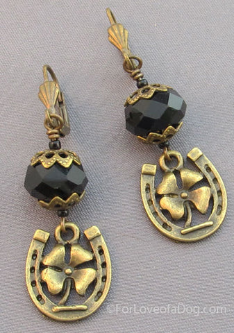Jet Black Crystal Earrings 4 Leaf Clover Horse Shoe
