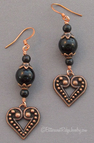 Copper Heart Earrings Black Obsidian