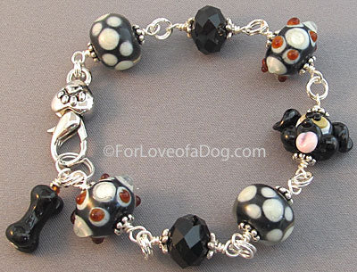 Black Puppy Dog Bone Bracelet Chunky Lampwork Beads