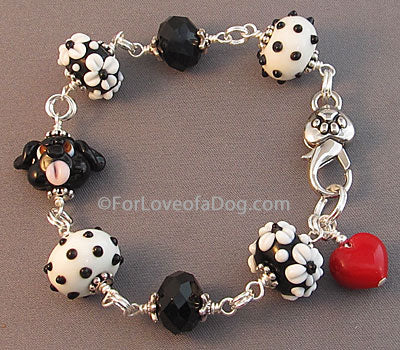 Black Dog Bracelet Lampwork Red Heart