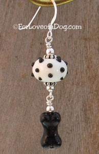Black Dog Bone Earrings Lampwork on Sterling Silver