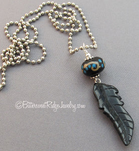 Unisex Feather Necklace Black Agate Lampwork Symbol Jewelry