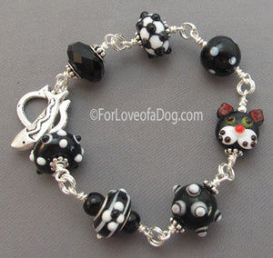 Tuxedo Cat Jewelry Lampwork Bracelet Fish Clasp