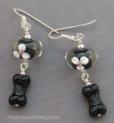 Dog Bone Earrings Black Floral Lampwork Sterling Silver