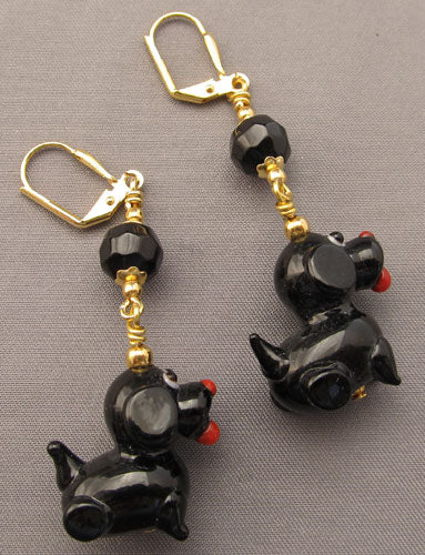 Black Dog Lampwork Earrings Gold Jewelry