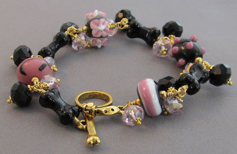 Dog Bone Bracelet Pink Black Gold Artisan Jewelry