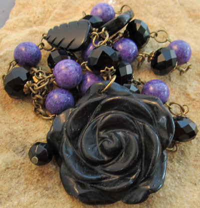Gothic Black Rose Necklace Crystal Purple